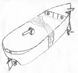 Diver's sketch of the Narcissus wreck.